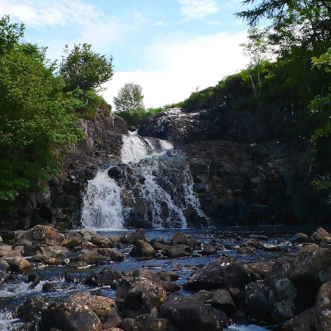 Mull fossilised tree waterfall