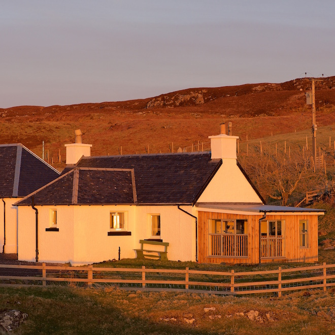 family holidays on mull cottages duill sunroom sunset