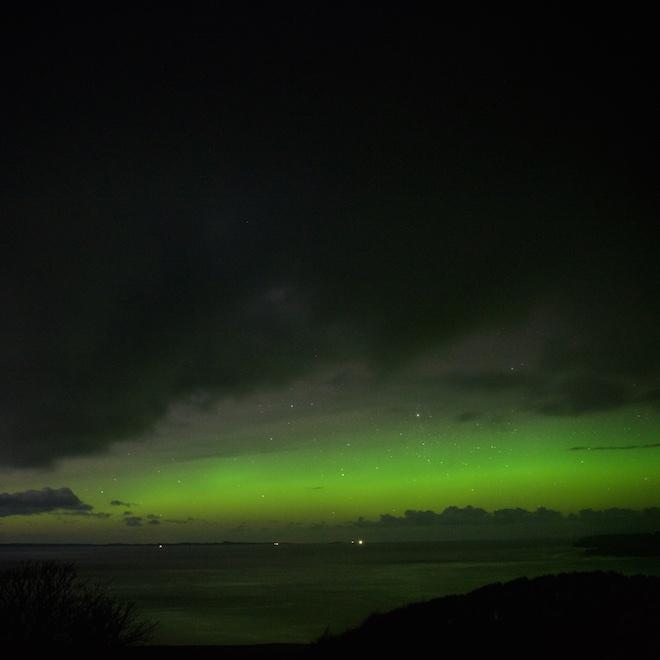 Treshnish cottages Mull aurora raining
