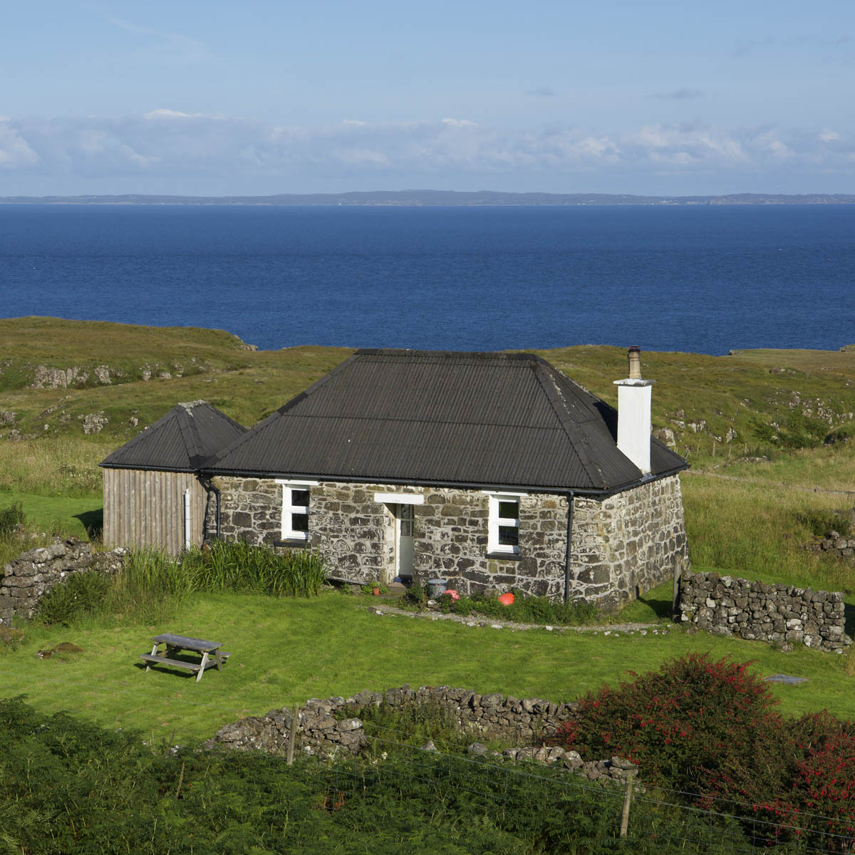 West Haunn Cottage, Treshnish, Mull, exterior and seaview
