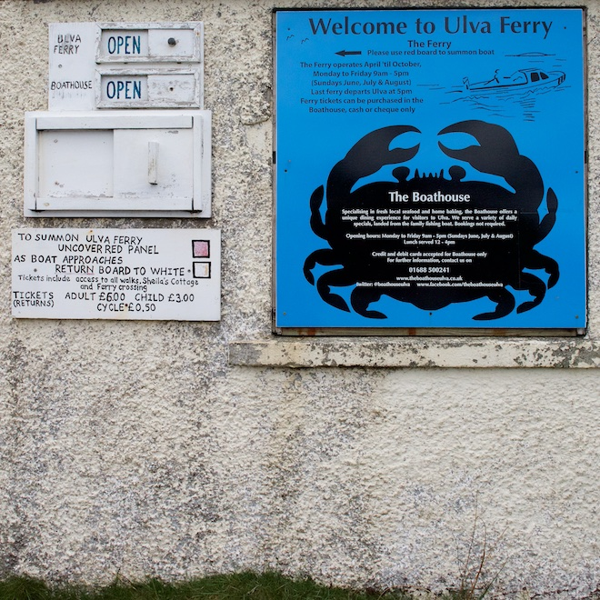 Treshnish Cottages Best Mull day trips Ulva Boathouse sign