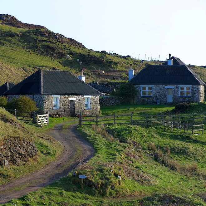 Treshnish Mull cottages island blackhouses april