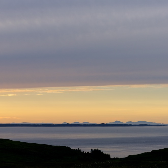 Treshnish Mull cottages sunset view Uists