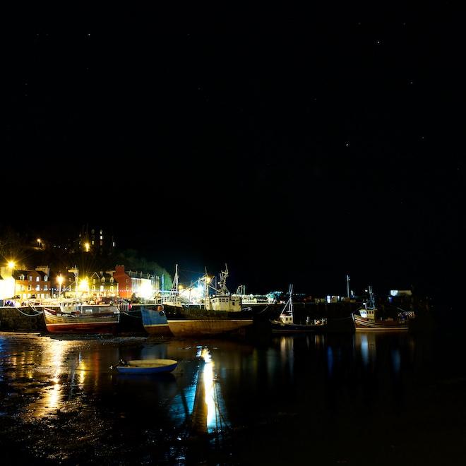 Treshnish Mull cottages Fishing boats Tobermory Christmas lights