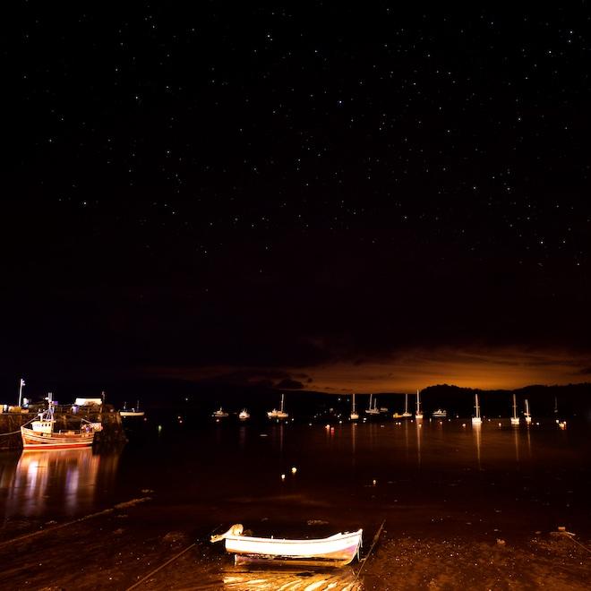 Treshnish Mull cottages Tobermory Christmas lights boats