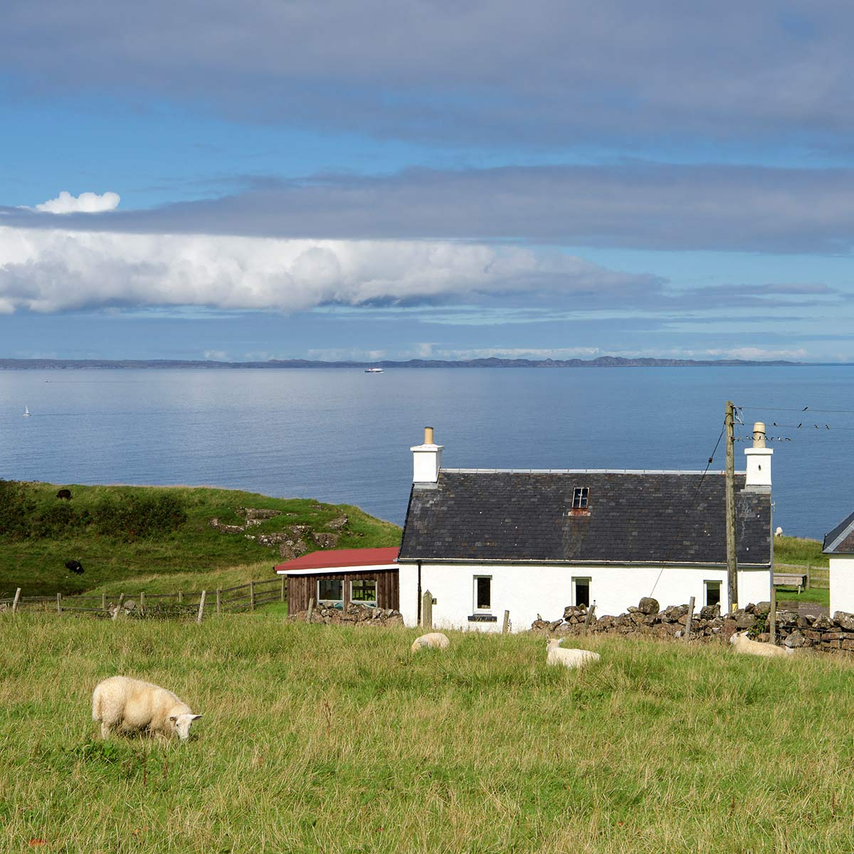 Treshnish, Mull, self-catering Duill Cottage sea view