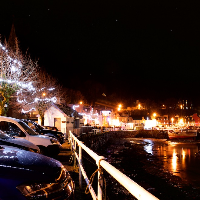 Tobermory Christmas Lights Mull Treshnish Cottages
