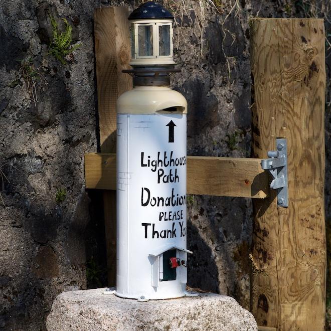 Tobermory Lighthouse Path donation box Treshnish cottages