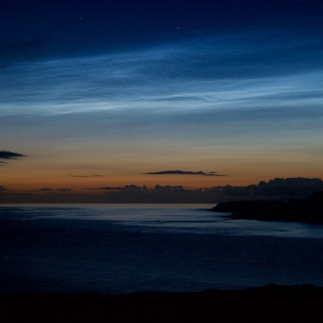 Noctilucent clouds Treshnish Cottages Mull June