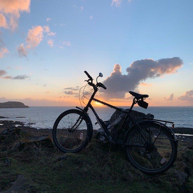 Treshnish headland cycling on Mull bike sunset