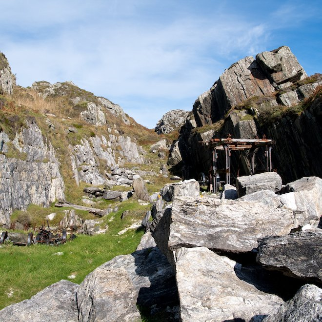marble quarry on Iona heather rock