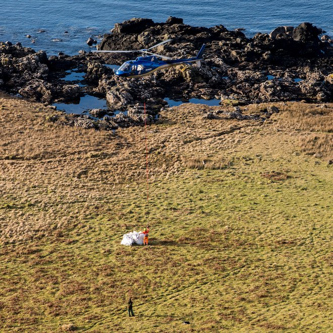 Beach cleaning on Mull Skyhook helicopters Treshnish